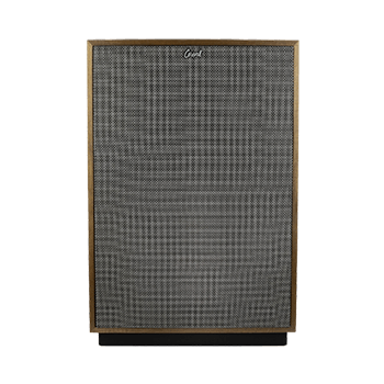 Front of Klipsch Cornwall IV speaker in American Walnut finish with mesh cover.