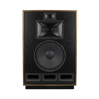 Front of a Klipsch Cornwall IV speaker in American Walnut finish without mesh cover.