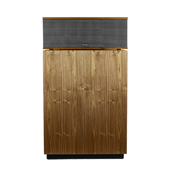 Front of a Klipsch Klipschorn speaker in walnut finish with mesh cover.