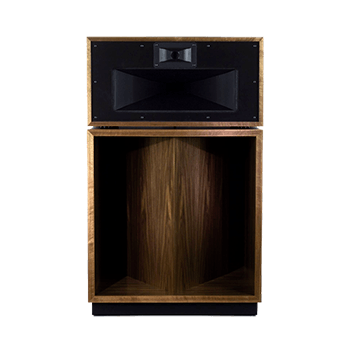 Front of a Klipsch La Scala AL5 speaker in walnut finish without mesh cover.