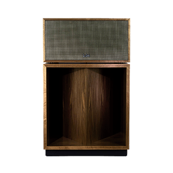 Front of a Klipsch La Scala AL5 speaker in Walnut finish with mesh cover.